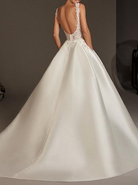 A-Line Wedding Dresses Jewel Neck Sweep \ Brush Train Lace Satin Regular Straps Plus Size Modern_2