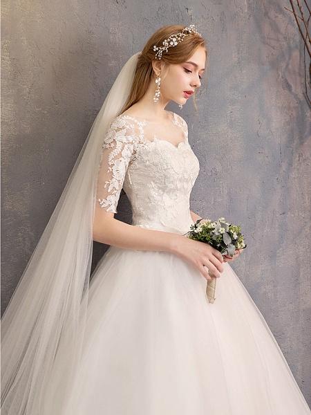 Ball Gown Wedding Dresses Sweetheart Neckline Floor Length Lace Tulle Half Sleeve Glamorous See-Through Illusion Sleeve_12