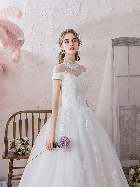 Ball Gown Wedding Dresses High Neck Floor Length Lace Tulle Polyester Sleeveless Formal Romantic_2