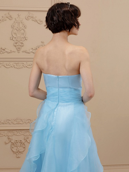 A-Line Wedding Dresses Sweetheart Neckline Floor Length Organza Satin Strapless Simple Plus Size Backless_5
