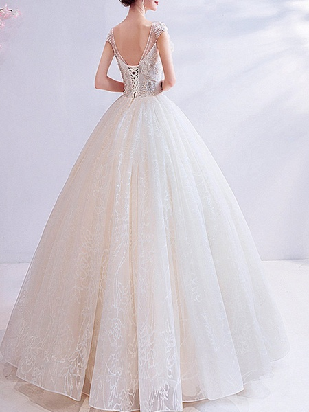 Ball Gown V Neck Floor Length Chiffon Tulle Short Sleeve Casual Illusion Detail Plus Size Wedding Dresses_2