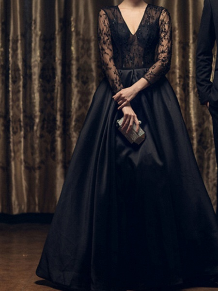 A-Line Wedding Dresses V Neck Floor Length Lace 3\4 Length Sleeve Formal Black Modern Illusion Sleeve_1