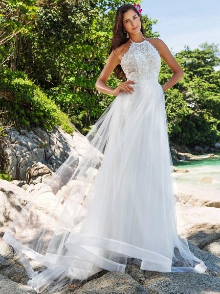 Princess A-Line Wedding Dresses Halter Neck Chapel Train Lace Organza Sleeveless Open Back_1
