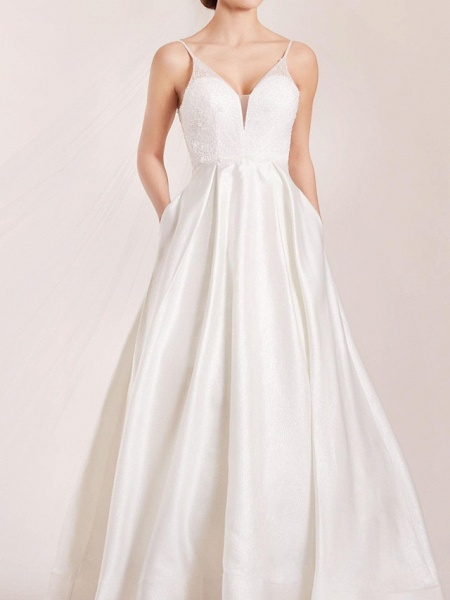 A-Line Wedding Dresses Spaghetti Strap Sweep \ Brush Train Polyester Sleeveless Country Plus Size_1