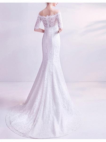 Mermaid \ Trumpet Wedding Dresses Off Shoulder Court Train Chiffon Tulle Half Sleeve Formal Illusion Detail Plus Size_3