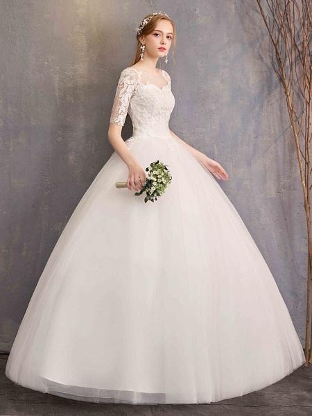 Ball Gown Wedding Dresses Sweetheart Neckline Floor Length Lace Tulle Half Sleeve Glamorous See-Through Illusion Sleeve_8