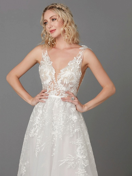 A-Line Wedding Dresses Plunging Neck Floor Length Lace Tulle Sleeveless See-Through_7