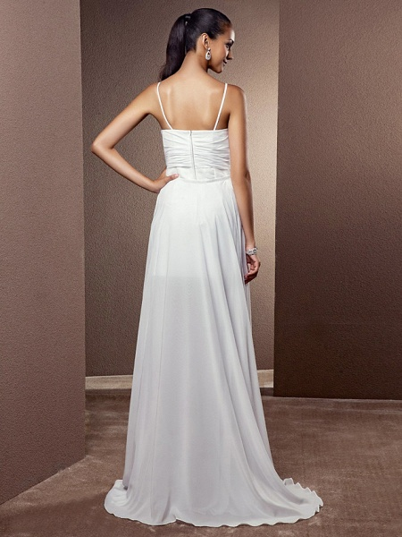 Sheath \ Column Wedding Dresses V Neck Asymmetrical Chiffon Sleeveless_4