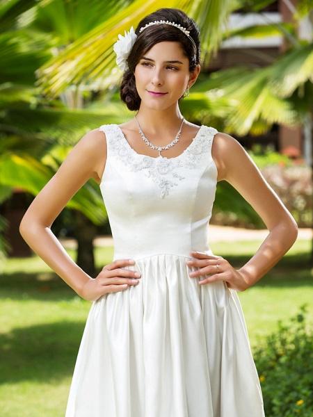 Princess A-Line Wedding Dresses Scoop Neck Asymmetrical Satin Sleeveless_6