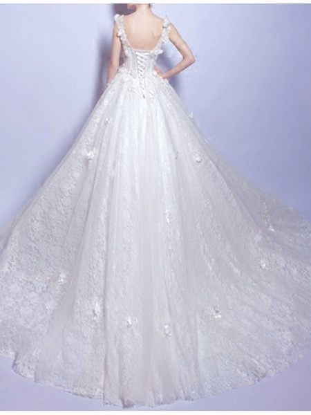 A-Line Wedding Dresses V Neck Court Train Chiffon Lace Tulle Sleeveless Casual Illusion Detail Plus Size_4