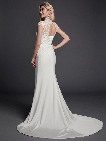 Mermaid \ Trumpet Wedding Dresses High Neck Court Train Lace Satin Sleeveless Sexy See-Through Illusion Detail Backless_2