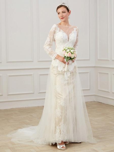 Sheath \ Column Wedding Dresses Jewel Neck Sweep \ Brush Train Lace Tulle Long Sleeve Formal Boho Plus Size Illusion Sleeve_2