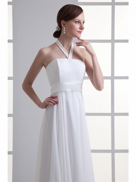 A-Line Wedding Dresses Halter Neck Floor Length Chiffon Satin Strapless_4