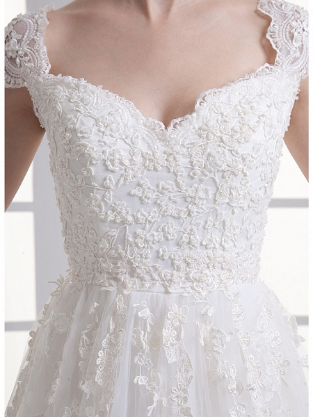 A-Line Sweetheart Neckline Court Train Lace Satin Tulle Cap Sleeve Wedding Dresses_5