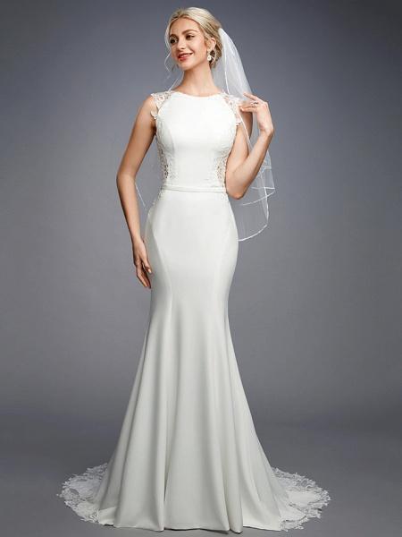 Mermaid \ Trumpet Wedding Dresses Bateau Neck Court Train Chiffon Lace Regular Straps Sexy Illusion Detail Backless_6