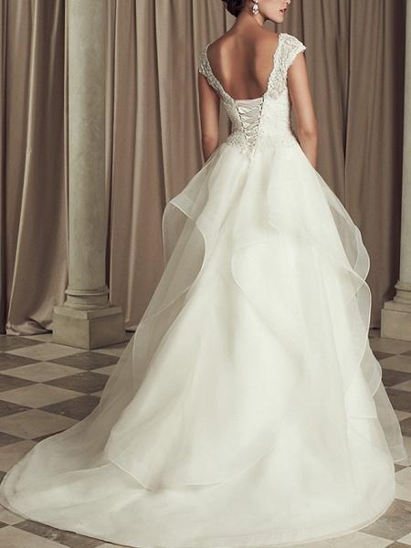 A-Line Wedding Dresses V Neck Sweep Train Lace Cap Sleeve Beach_2