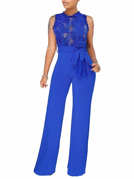 Women's Daily \ Going out Basic \ Street chic Black Wine Blue Wide Leg Jumpsuit_1