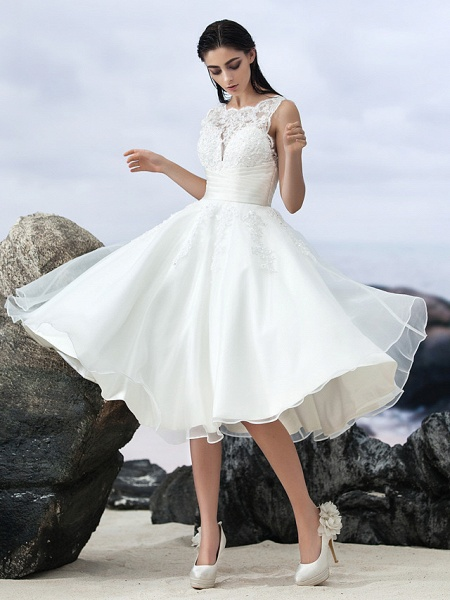 A-Line Wedding Dresses Bateau Neck Knee Length Organza Regular Straps Formal Casual Little White Dress Illusion Detail Backless_6