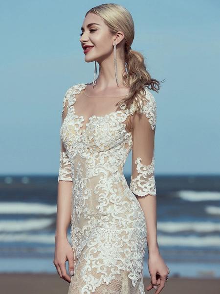 Mermaid \ Trumpet Wedding Dresses Scoop Neck Sweep \ Brush Train Lace Tulle Half Sleeve Beautiful Back_5