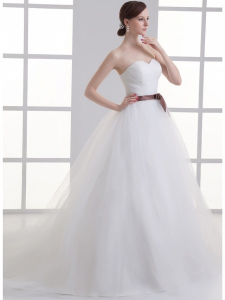 A-Line Wedding Dresses Sweetheart Neckline Court Train Lace Satin Tulle Strapless_2