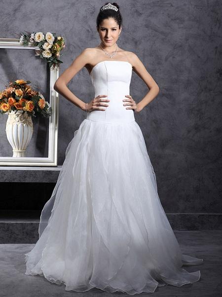 Princess A-Line Wedding Dresses Strapless Organza Satin Sleeveless_2