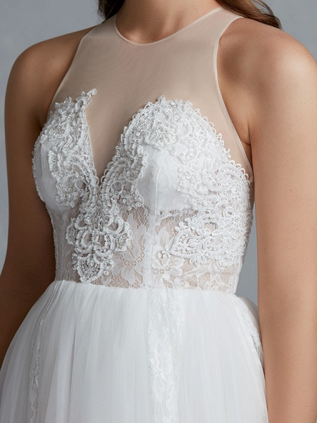 A-Line Wedding Dresses Jewel Neck Court Train Lace Tulle Regular Straps Glamorous See-Through Backless_10