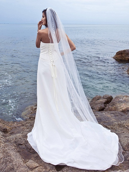 Sheath \ Column Wedding Dresses Strapless Court Train Chiffon Strapless Beach Plus Size_7