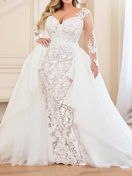 Mermaid \ Trumpet V Neck Sweep \ Brush Train Lace Organza Long Sleeve Country Plus Size Wedding Dresses_1