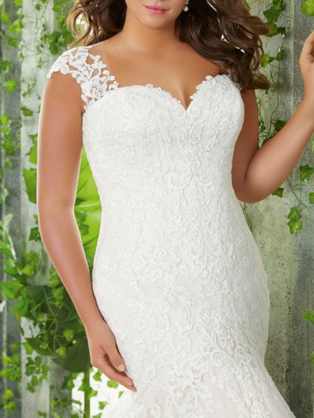 Mermaid \ Trumpet Sweetheart Neckline Sweep \ Brush Train Lace Tulle Sleeveless Romantic Wedding Dresses_2