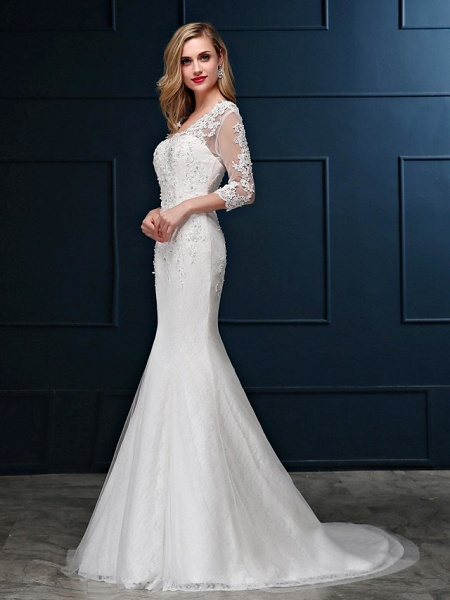 Mermaid \ Trumpet Wedding Dresses V Neck Sweep \ Brush Train Lace Over Tulle 3\4 Length Sleeve Romantic Glamorous Sparkle & Shine Backless Illusion Sleeve_3