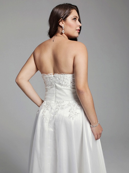 A-Line Wedding Dresses Strapless Asymmetrical Lace Tulle Strapless Little White Dress Open Back_5