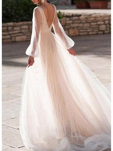 A-Line Wedding Dresses V Neck Sweep \ Brush Train Tulle Long Sleeve Illusion Sleeve_2