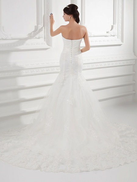 Mermaid \ Trumpet Strapless Chapel Train Lace Satin Tulle Strapless Wedding Dresses_3