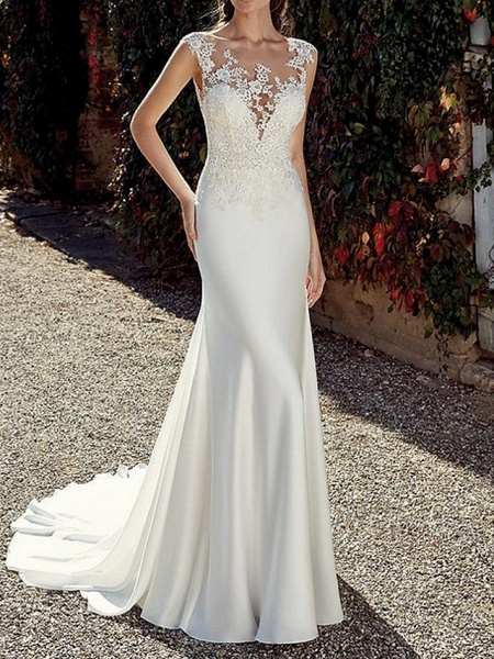 Mermaid \ Trumpet Wedding Dresses Jewel Neck Sweep \ Brush Train Chiffon Cap Sleeve Illusion Detail Backless_1