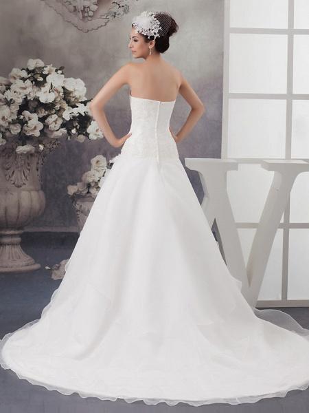 A-Line Sweetheart Neckline Chapel Train Organza Satin Strapless Wedding Dresses_3