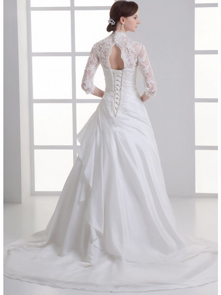 A-Line V Neck Chapel Train Lace Satin Taffeta 3\4 Length Sleeve Illusion Sleeve Wedding Dresses_3