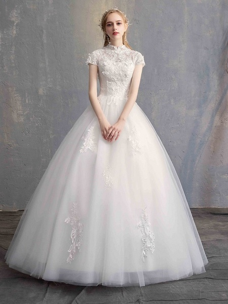 Ball Gown Wedding Dresses High Neck Floor Length Lace Tulle Lace Over Satin Short Sleeve Vintage Illusion Sleeve_2