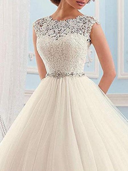 Ball Gown Wedding Dresses Jewel Neck Sweep \ Brush Train Lace Tulle Cap Sleeve Glamorous Vintage Sparkle & Shine Illusion Detail_3