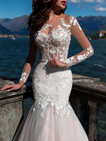 Mermaid \ Trumpet Jewel Neck Court Train Lace Tulle Long Sleeve Formal See-Through Wedding Dresses_2