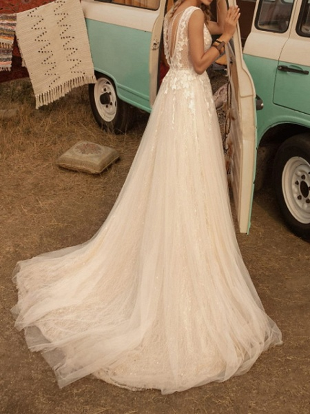 A-Line Wedding Dresses V Neck Sweep \ Brush Train Lace Tulle Jersey Sleeveless Country Plus Size_4