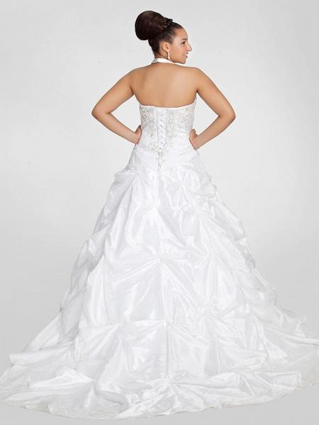 Ball Gown V Neck Court Train Taffeta Regular Straps Glamorous Vintage Plus Size Backless Wedding Dresses_2