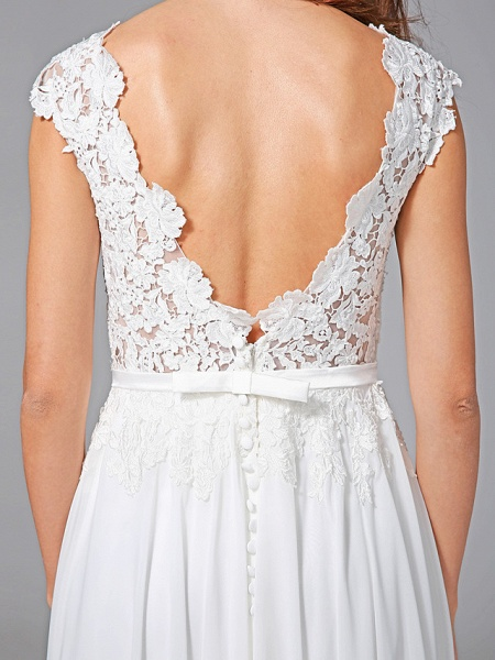 Sheath \ Column Wedding Dresses Bateau Neck Sweep \ Brush Train Chiffon Floral Lace Cap Sleeve Romantic Illusion Detail Backless_10