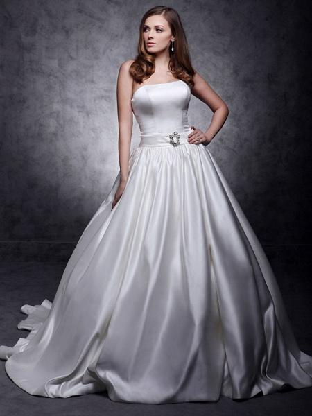 Princess Wedding Dresses Strapless Chapel Train Satin Sleeveless_6