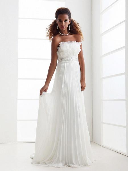 Sheath \ Column Wedding Dresses Scalloped-Edge Sweep \ Brush Train Chiffon Sleeveless_3