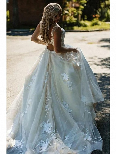 A-Line Wedding Dresses V Neck Court Train Tulle Spaghetti Strap Backless_4