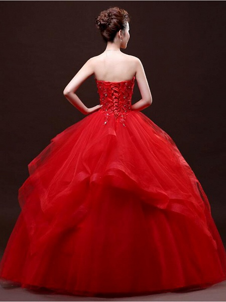 Ball Gown Wedding Dresses Strapless Floor Length Lace Tulle Strapless Sexy Red_8