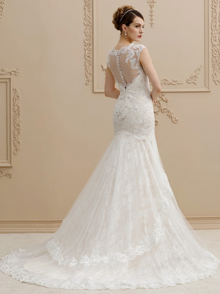 Mermaid \ Trumpet Square Neck Court Train Lace Over Tulle Regular Straps Wedding Dress in Color Floral Lace See-Through Wedding Dresses_2