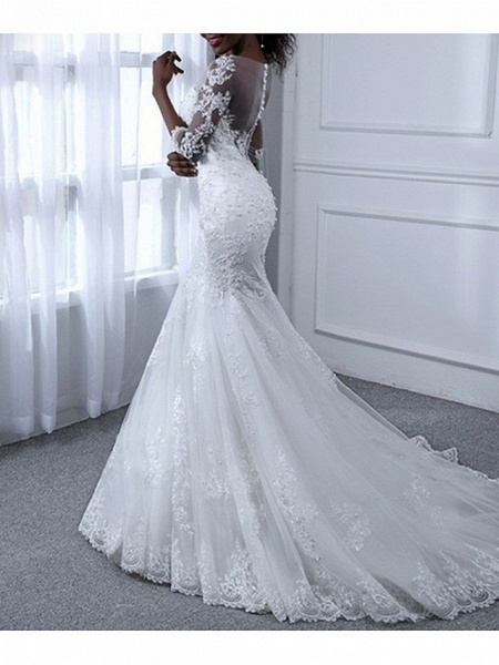 Mermaid \ Trumpet Wedding Dresses Jewel Neck Sweep \ Brush Train Tulle Long Sleeve Casual Plus Size Illusion Sleeve_1