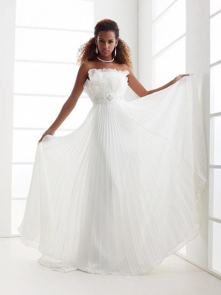 Sheath \ Column Wedding Dresses Scalloped-Edge Sweep \ Brush Train Chiffon Sleeveless_1