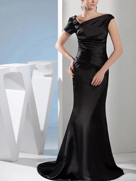 Mermaid \ Trumpet Wedding Dresses Off Shoulder Sweep \ Brush Train Satin Short Sleeve Formal Black_1